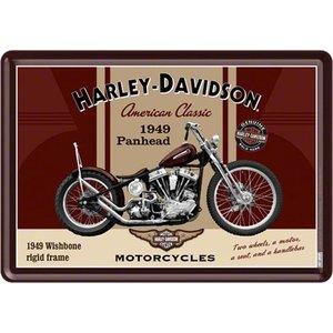 Harley Davidson Harley-Davidson Panhead Metall Postcarte 10x14 cm