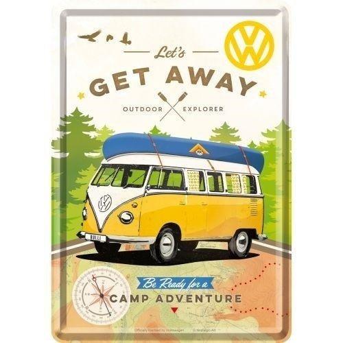 Volkswagen Volkswagen T1 Bulli Let's Get Away Metall Postcarte 10x14 cm