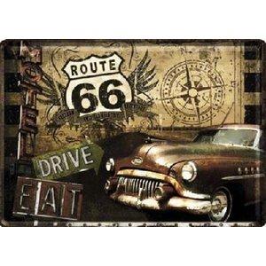 Route 66 Road Trip Metalen Postcard 10x14 cm