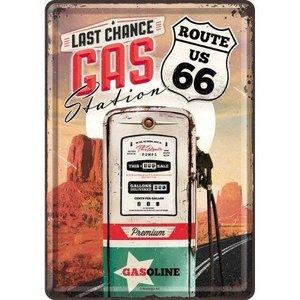 Route 66 Gas Station Metalen Postcard 10x14 cm