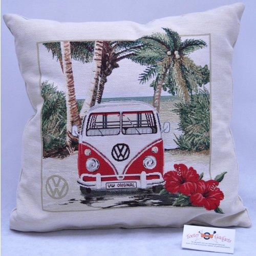 Volkswagen VW T1 Bus Hibiscus Hawaii sierkussen 45x45 cm