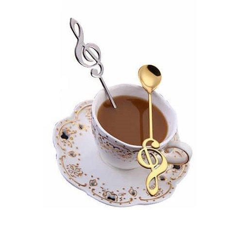 Musik-Tastenlöffel Edelstahl goldfarben