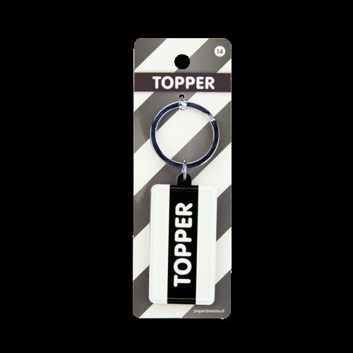 """Sleutelhanger Black&White """"Topper"""" 13,5x4,5 cm"""