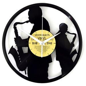 Vinyl Saxophonisten-Wanduhr