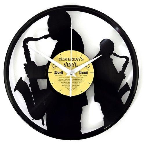 Vinyl Vinyl-Wanduhr-Saxophonisten