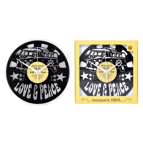 Vinyl Vinyl wandklok Love and Peace Bus