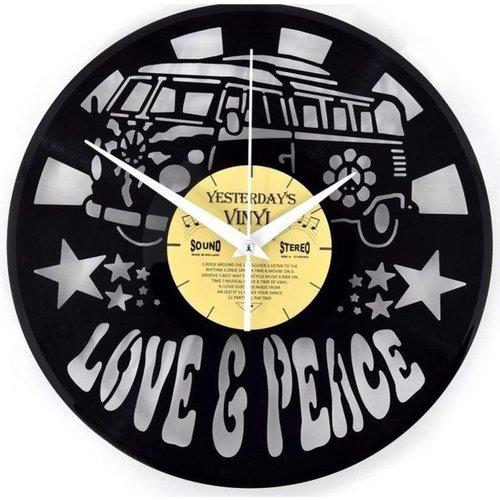 Vinyl Love and Peace Bus wandklok