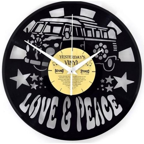 Vinyl Love and Peace Bus Wanduhr