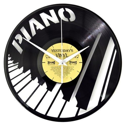 Vinyl Wanduhr mit Klaviertasten
