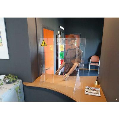 Stabiel veiligheidsscherm van plexiglas 75 x 80 cm (+/- week levertijd)