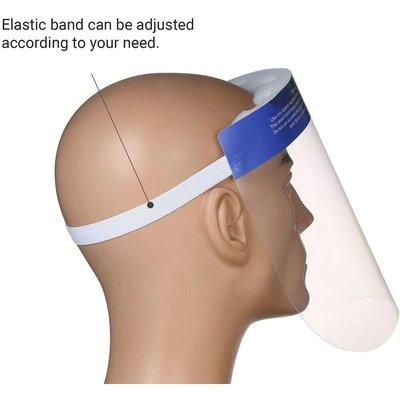 Gezicht spatscherm met elastieken band en voorhoofdkussentje