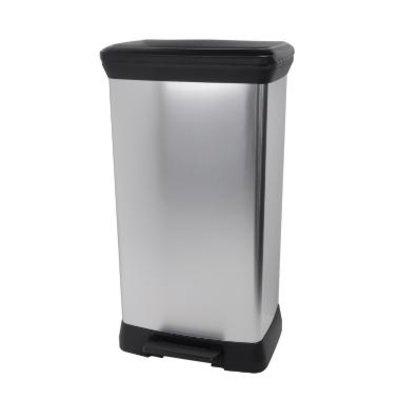 Afvalbak pedaalemmer decobin 50ltr zwart/metal Curver