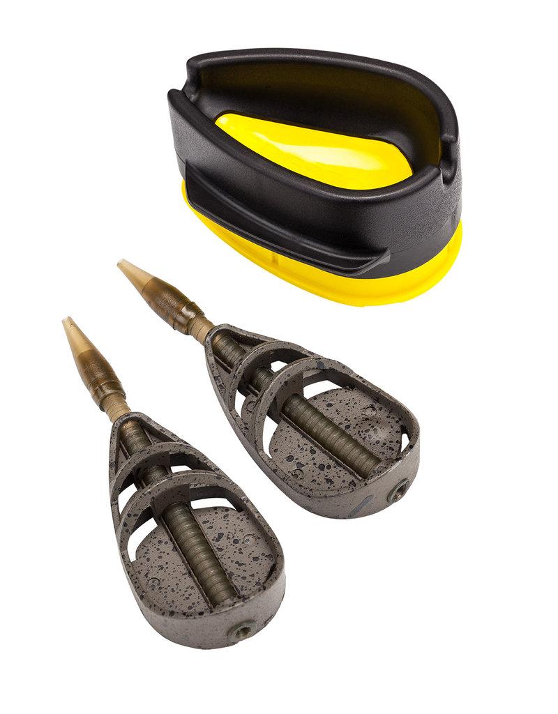Preston innovations Preston ICS Dura Method Inline Feeders voor het snelle wisselen van korf of gewicht.