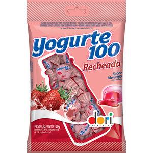Dori Bala Mastigável Yogurte100 Morango Recheada Dori 150g