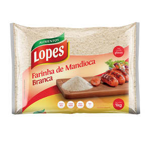Lopes Farinha Mandioca Branca Média Lopes 1kg
