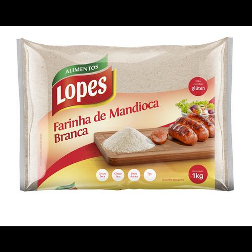 Lopes Farinha Mandioca Branca Fina Lopes 1kg