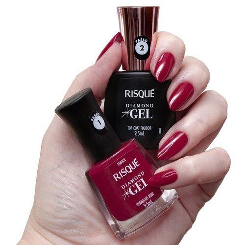 Risque Kit Esmalte Risque Diamond Gel Vermelho Rubi 9.5ml