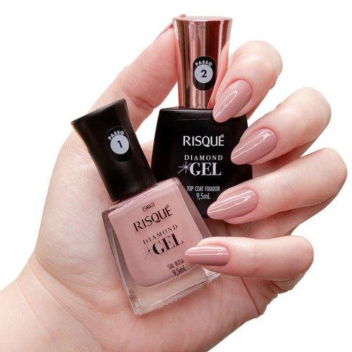 Risque Kit Esmalte Risque Diamond Gel Sal Rosa 9.5ml