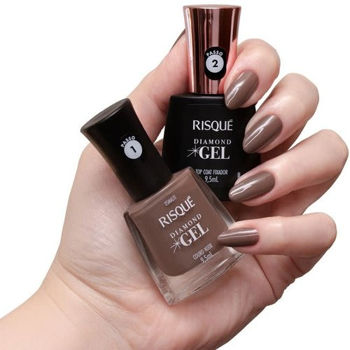 Risque Kit Esmalte Risque Diamond Gel Couro Nude 9.5ml