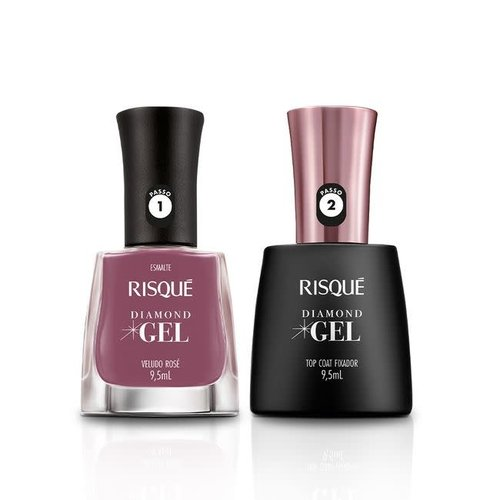 Risque Kit Esmalte Risque Diamond Gel Veludo Rosé 9.5ml
