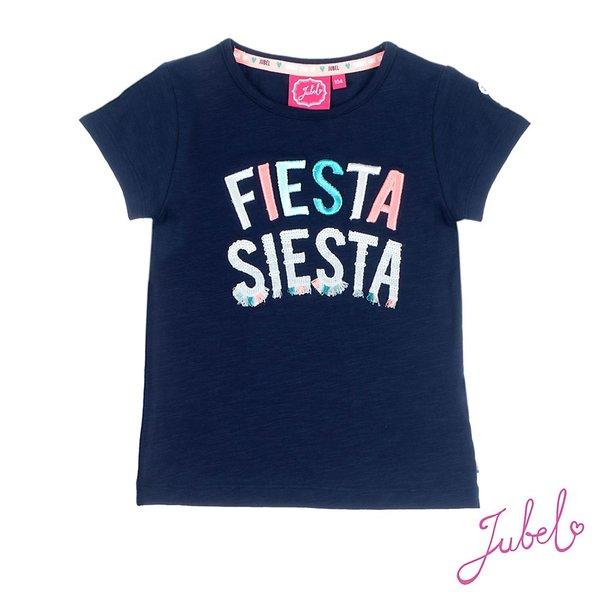 T-shirt Fiesta siesta blauw of oranje - Botanic Neon koraal