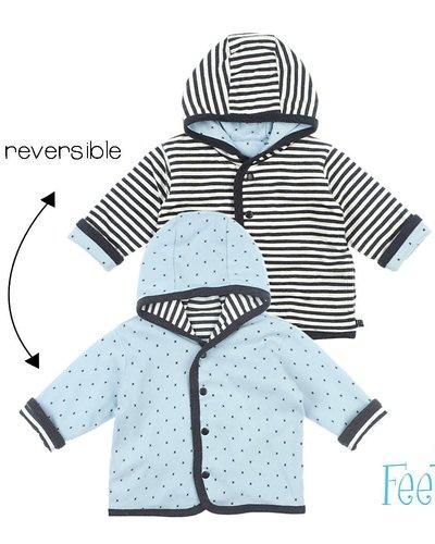Feetje-baby Omkeerbaar jasje blauw /antraciet met capuchon  -Mini Person