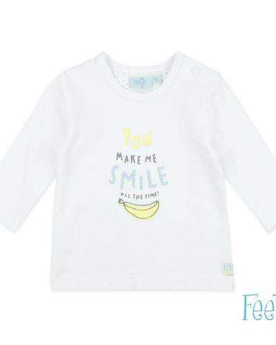 Feetje-baby Longsleeve Smile Wit - Go Bananas