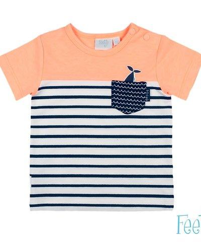 Feetje-baby T-Shirt Uni/Streep Neon Oranje - Mr. Good Looks