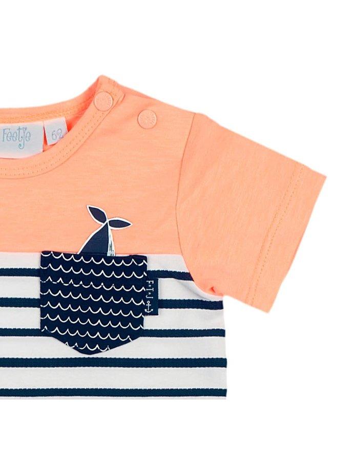 T-Shirt Uni/Streep Neon Oranje - Mr. Good Looks