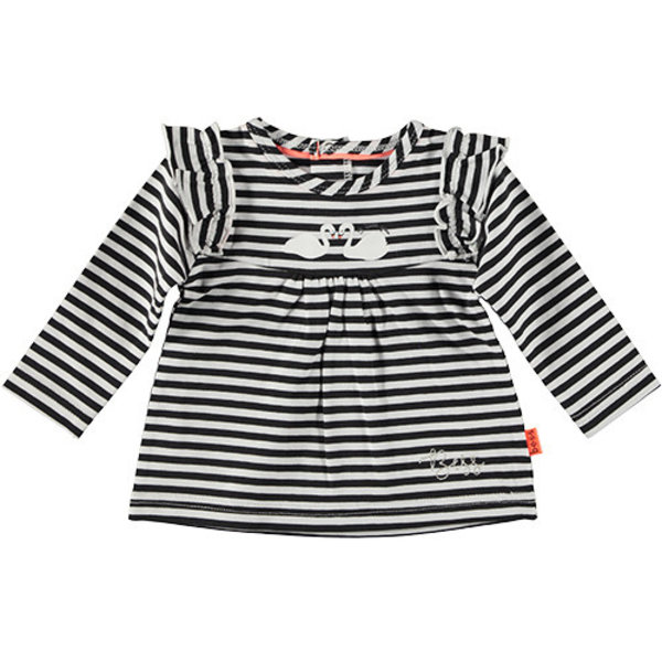 Shirt l.sl. Ruffle Striped Black