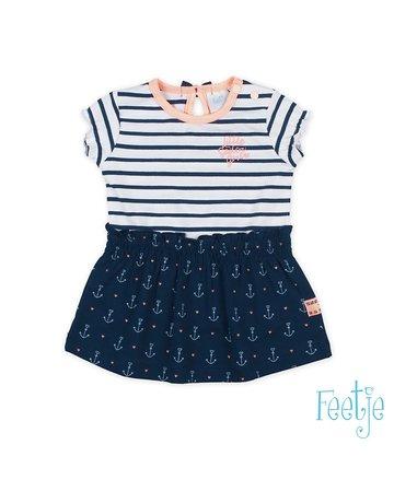 Feetje-baby Jurk streep/AOP Marine - Sailor Girl