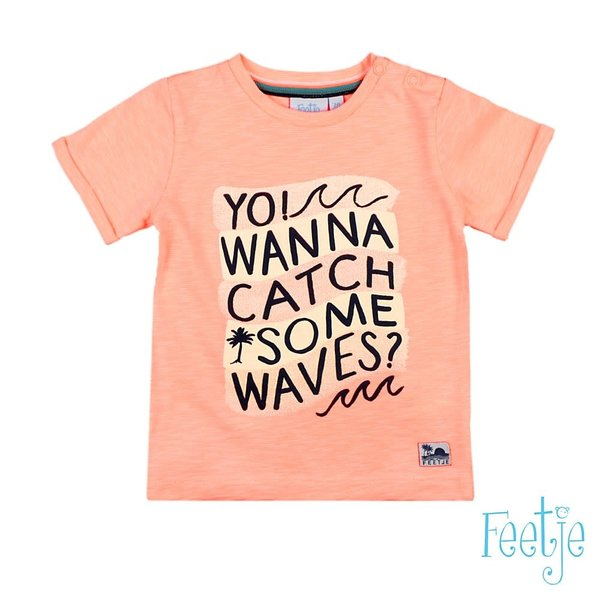 T-shirt You Wanna Catch Neon Oranje - Mini Wanderer