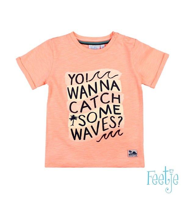 Feetje-baby T-shirt You Wanna Catch Neon Oranje - Mini Wanderer
