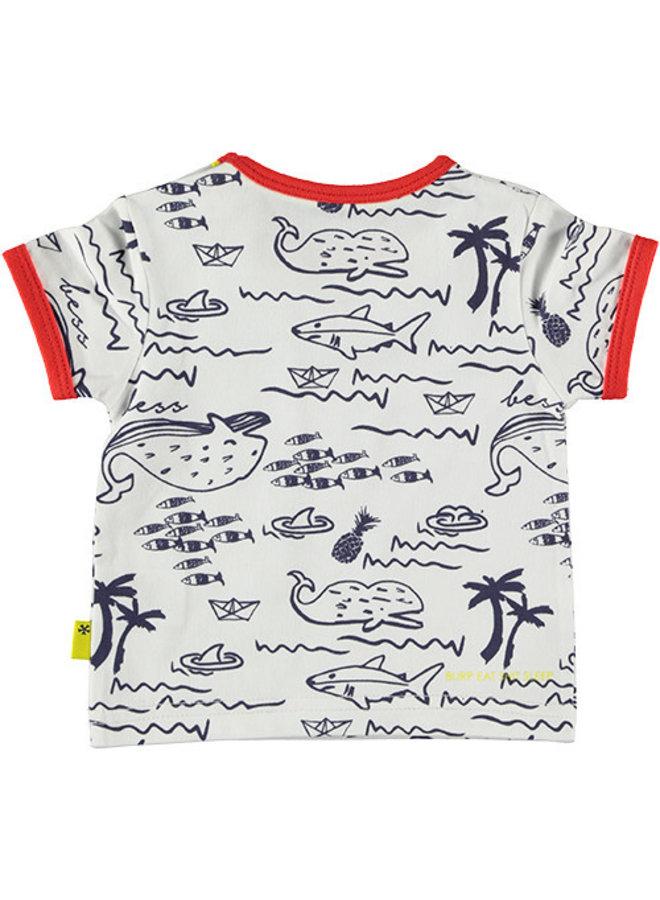 Shirt sh. sl. AOP Seaworld White