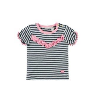 Bampidano Baby Girls T-shirt Gestreept blauw/wit