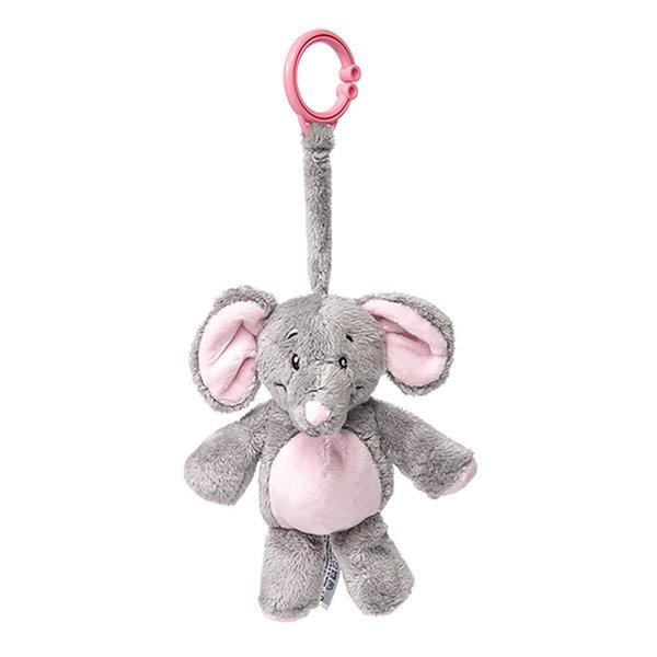 My teddy Olifant clip knuffel roze/blauw