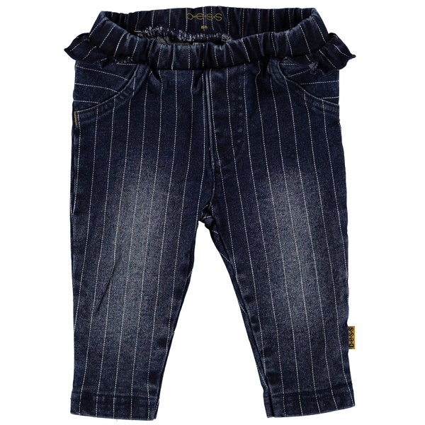 Pants denim striped ruffle