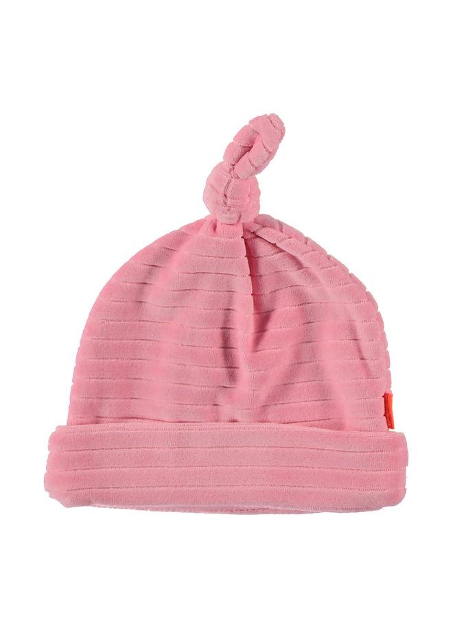 Hat velvet grijs/roze