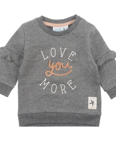 Feetje-baby Sweater Love You Antraciet - Litte and Loved