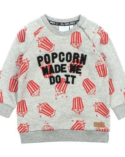 Feetje-baby Sweater Made Me Grijs - Popcorn Power