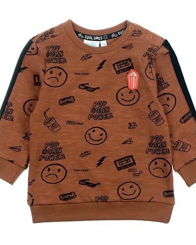 Feetje-baby Sweater AOP Bruin - Popcorn Power