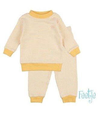 Feetje-baby Wafel pyjama Okergeel