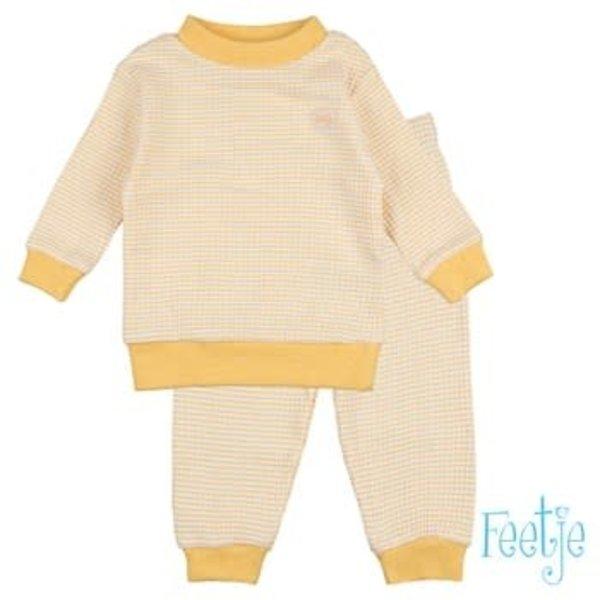 Wafel pyjama Okergeel