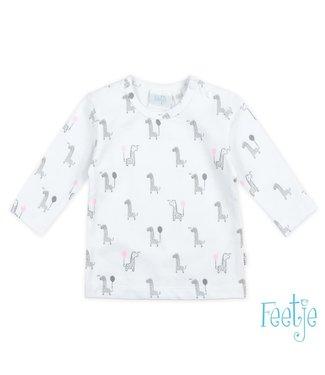 Feetje-baby Longsleeve AOP Wit/roze  - Giraffe