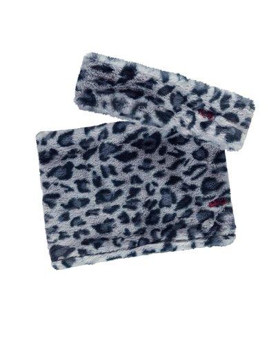 B.nosy Haarband en sjaal Oxford blue panter