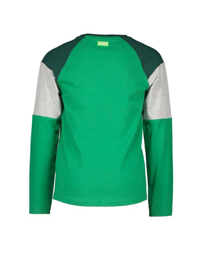 T-shirt with vertical panels Botanical green