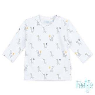 Feetje-baby Longsleeve AOP Wit/ geel Giraffe