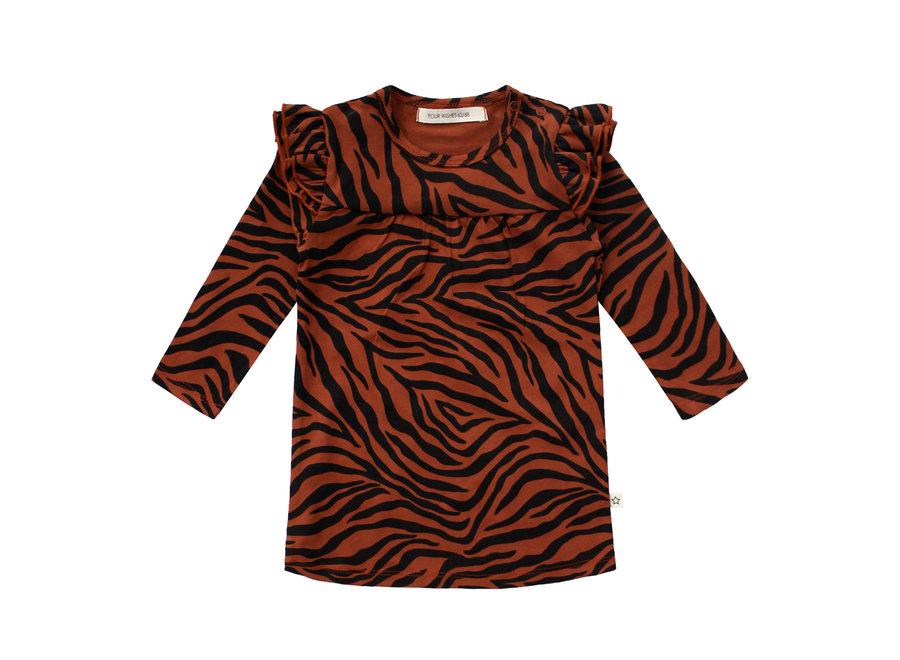 Jurk zebra ruffle