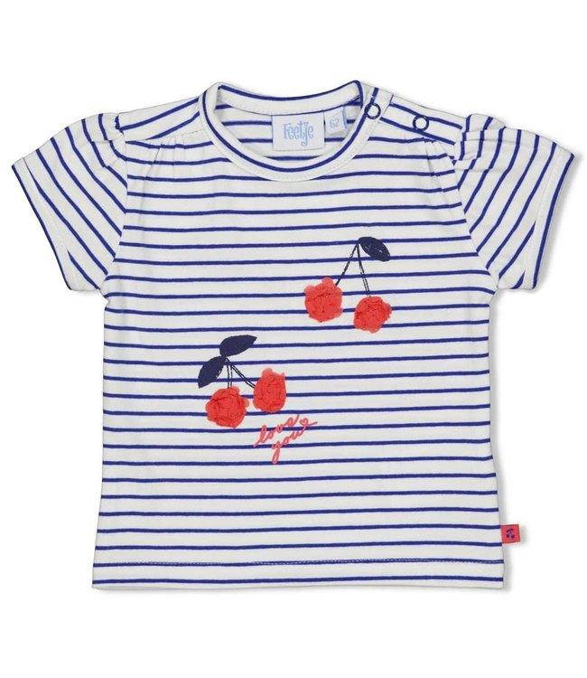 Feetje-baby T-shirt streep - Cherry Sweetnes - Marine