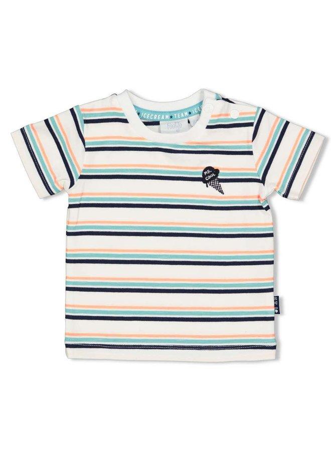 T-shirt streep - Team Icecream - Wit